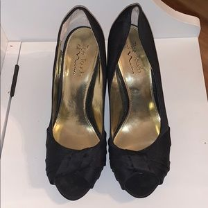 Nina Satin Black Open Toe Heels Dress Shoes 10